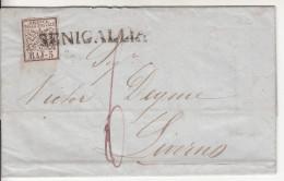 Stato Pontificio (1852) - 5 Baj Su Piego Da Senigallia A Livorno - Stato Pontificio