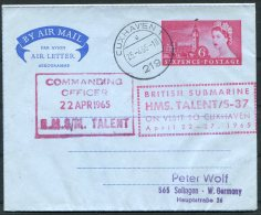 1965 GB Parliament Airletter, Cuxhaven Germany, H.M.S. TALENT British Royal Navy Submarine - 1952-.... (Elizabeth II)