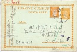 LCIRC7 - TURQUIE EP CP 3k + TPM IZMIR / BRUXELLES 12/3/1941 CENSURES - Postwaardestukken