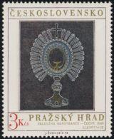 Czechoslovakia / Stamps (1974) 2084: Prague Castle - Treasury, Glass Monstrance (Bohemia, 1840) - Vetri & Vetrate