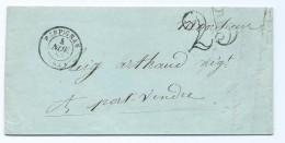 1889 - Lettre 1853 Cachet Perpignan Pour Port Vendres Reig Arthaud Taxe Tampon 25 - 1849-1876: Periodo Classico