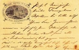 Entier Postal Grand Hotel De Caux Sur Montreux - Montreux 27.XII.1894 - Rare. - Stamped Stationery