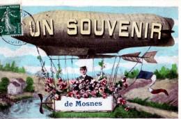 CPA 37 UN SOUVENIR DE MOSNE DIRIGEABLE FLEURI ANIMEE COLORISEE G.P. PARIS - Autres Communes
