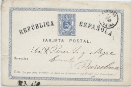 "LCIRC7 - ESPAGNE EP CP EMISSION 1873/74 ""TARJETA"" SANS POINT  VOYAGEE"
