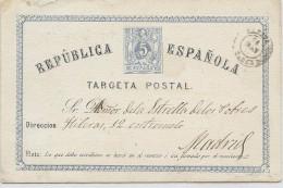 "LCIRC7 - ESPAGNE EP CP EMISSION 1873/74 ""TARGETA"" SANS POINT  VOYAGEE"