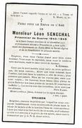 Souvenir Pieux, Léon SENECHAL, Prisonnier De Guerre 1940-1945, Sart-Dames-Avelines 1911 / Bruxelles 1950 - 2 Scans - Devotion Images