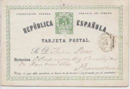 """LCIRC7 - ESPAGNE EP CPRP EMISSION 1873/74 """"TARJETA"""" AVEC POINT  PARTIE REPONSE VOYAGEE"""