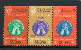 1967 Sudan  Arab Summit Complete Set Of  3 MNH - Sudan (1954-...)