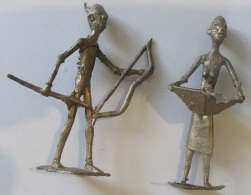 0 Afrique Occidentale Deux Personnages En Laiton - Art Africain