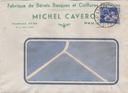 Yvert 365 Paix Sur Lettre Entête Michel Cavero Bérets Basques Coiffures Fantaisie Cachet PAU Basses Pyrénées - Francia