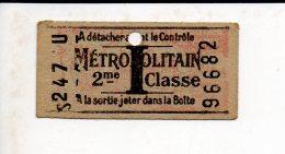 Ticket Transport,Métropolitain Classe 2 Ou à Identifier - Metropolitana