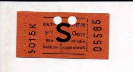 Ticket Transport,Métro RATP Classe 1 Valable Pour 2 Voyages Succéssifs - Metropolitana