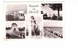 17 Ile De Ré Carte 5 Vues Souvenir Pin-up Pin Up Flotte Bateaux Port Vue Sur Le Phare Plage Saint Martin - Ile De Ré