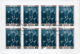 AJMAN Mi 801B FDC 1er Jour Feuillet Non Dentelé Imperforated Albert SCHWEITZER Photo De Famille à Gunsbach Nobel Paix - Albert Schweitzer