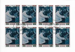 AJMAN Mi 803B FDC 1er Jour Feuillet Non Dentelé Imperforated Albert SCHWEITZER En Concert Orgue Organ Orgel Nobel Paix - Albert Schweitzer