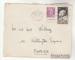 1949 FRANCE COVER Stamps 15f  AMPERE, ARAGO Physicist , 10f Marianne De Gandon  To GB Physics - France