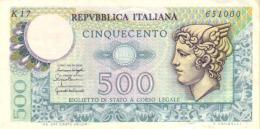 ITALY 500 LIRE 1976 P-95 UNC (REPUBBLICA ITALIANA) [ IT95 ] - 500 Lire