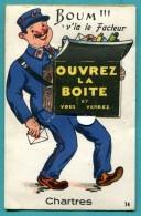 28 - CHARTRES FACTEUR   Carte à Système -   10 Vues - 2 Scans - Cpa-voyagée Non- état Tb - Chartres