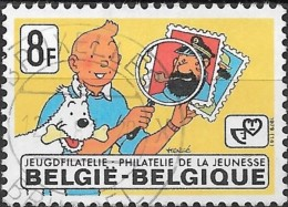 """BELGIUM 1979 """"Philately For The Young"""" - 8f Tintin With Dog, Stamps And Magnifier  FU - Usados"""