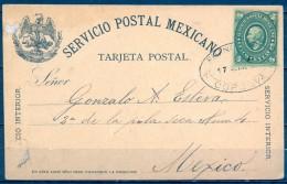 """MEXICO , 1887 , CORDOBA - MEXICO D.F. , ENTERO POSTAL CIRCULADO , TARJETA DE SERVICIO INTERIOR, FRANCO EN """" CORDOVA """" - México"""
