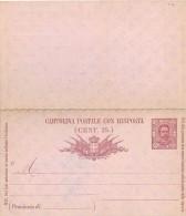 "REGNO ITALIA – C. P. RE UMBERTO I - BIGOLA III TIRATURA - CATALOGO FILAGRANO ""C19"" MILLESIMO 91 CON RISPOSTA - NUO - Entiers Postaux"