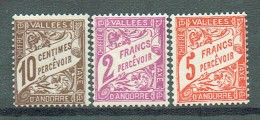 Französich-Andorra 1938-41Portomarken Yvert 18-20 MNH