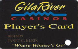 Gila River Casino - Chandler, AZ - 3rd Issue Slot Card - Says Must Be 18 Years Of Age On Back - Casino Cards