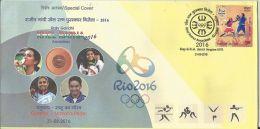 Special Cover India ,Rio 2016, Khel Ratna Awardees Ms P V Sindhu, Badminton, Ms Sakshi Malik, Wrestling,Jitu Rai Shootin