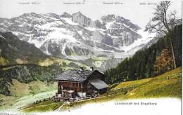 ENGELBERG → Landschaft Mit Bauernbetrieb Und Sicht Auf Graustock, Hanghorn, Hutstock & Juchli, Ca.1925 - OW Obwalden