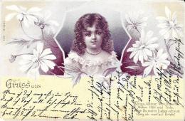 [DC3437] CPA - GRUSS AUS - SALUTI DA - BAMBINA CON FIORI - Viaggiata 1900 - Old Postcard - Saluti Da.../ Gruss Aus...