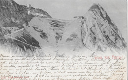 GRUSS VOM PILATUS → Alter Lichtdruck Mit Den Kulmhotels Anno 1901  ►Stempel Hotel Pilatus Kulm◄ - NW Nidwalden