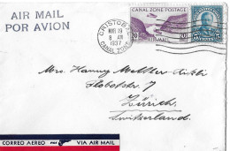 CRISTOBAL CANAL-ZONE - ZÜRICH → Air Mail/Por Avion Letter From 19.March 1937 - Panama