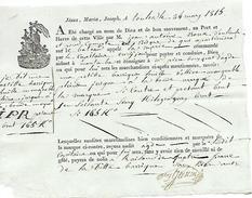 """24 May 1815 - TOULON (83) - Connaissement - BATEAU """"La Marie"""" - Huile D'olive Mangeable - Documentos Históricos"""