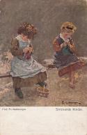 AK 1918 Art -  Prof. Fr. Kallmorgen - Strickende Kinder - Malerei & Gemälde