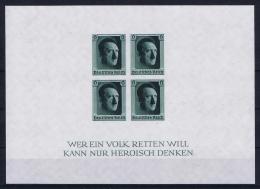 Deutsches Reich 1937 Mi Block Nr 8   MNH/**/postfrisch/neuf Sans Charniere At Top Back Small Spot