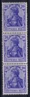 Deutsches Reich 1905 Mi Nr 87 I  A  Dreistreif  MNH/**/postfrisch/neuf Sans Charniere