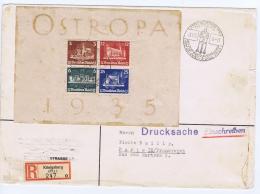 Deutsches Reich 1935 Ostropa Mi Bl Nr 3 With Cert. BPP Schlegel Ersttag Stempel  Einschreiben  Brief  Paris CV  1500