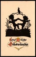 7024 - Alte Glückwunschkarte - Scherenschnitt Engel - Georg Plischke - Verlag Fiedler Zittau - Silhouettes