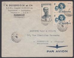 "MAdagascar 1952, Airmail Cover ""R.Bourgoin Et Cie"" Mananjary To Marseille W./postmark Mananjary - Madagascar (1889-1960)"