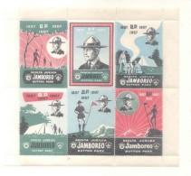JAMBOREO SKOLTA JUBILEA SUTTON PARK 1857-1957 COMPLETE SET HOJITA BLOC IMPRESO EN BARCELONA POR E. MORENO TBE - Esperanto
