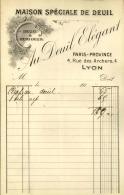 Thématique « POMPES FUNEBRES » - Document Commercial (petit Format) à Entête De Lettre - A Voir – N° 19127 - Petits Métiers
