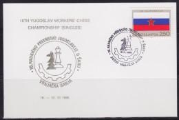8295. Chess Yugoslavia 1986, 16th Yugoslav Workers Chess Championship In Vrnjacka Banja, Commemorative Card - Schaken