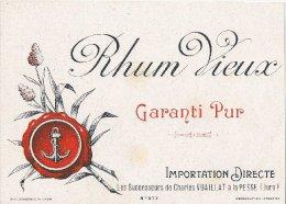 """39: La Pesse : étiquette Du """" Rhum Vieux """" Importation Direct Par Les Successeurs De Charles Vuaillat La Pesse - France"""