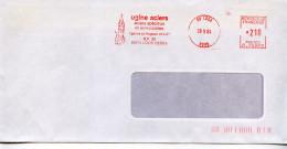 EMA Architecture,tour Beffroi,Ugine Aciers,chimie Acier Inoxydable,59 Loos,Nord,lettre Obliterée 28.9.1984 - Monuments