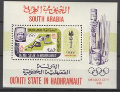 QU'AITI STATE - BLOK MI 7A Xx GETAND - COTE 12,00 EURO - OLYMPIC GAMES MEXICO 1968 + FLAME - SEE SCAN - NR1 - Timbres