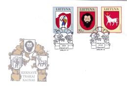 Litauen, 1998,  673/75, Stadtwappen (VII). FDC - Lithuania