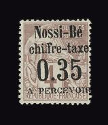 NOSSI BE TAXE N° 4(*) 0.35 Sur 4c Lilas-brun Sur Gris. Excellent Centrage.Grande Fraîcheur. Signé Brun.Cote Yt 580 Euros - Nossi-Bé (1889-1901)