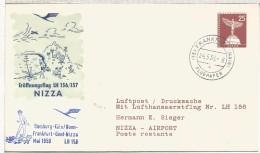 ALEMANIA ENTERO POSTAL PRIMER VUELO HAMBURG KOLN FRANKFURT GENF NIZZA 1959 AL DORSO MAT NICE - [7] West-Duitsland