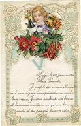 Superbe Lettre De Voeux Gaufrée à Système, Découpi à Tirette, Enfant, Fleurs, Champagne, LIEGE 1912 - Enfants