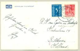 """Nederlands Indië - Stempel Veldpost 7 Dec. Div. Op Fotokaart Van """"Katholiek Thuisfront"""" Naar Bilthoven / Nederland - Netherlands Indies"""